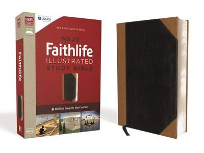 NKJV, Faithlife Illustrated Study Bible, Imitation Leather, Black/Tan, Indexed, Red Letter Edition