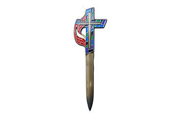 Picture of United Methodist Stained Glass Enameled Cross Letter Opener