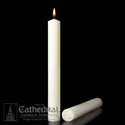Picture of 51% Beeswax Altar Candles Cathedral 12 x 3 Pack of 2 All Purpose End