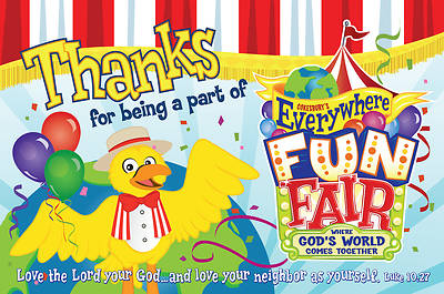 Vacation Bible School 2013 Everywhere Fun Fair Pkg of 25 Thank You Postcard VBS