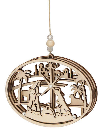 Picture of Flourish Wood Ornament Nativity