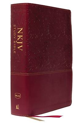 Picture of NKJV Study Bible, Leathersoft, Red, Full-Color, Thumb Indexed, Comfort Print