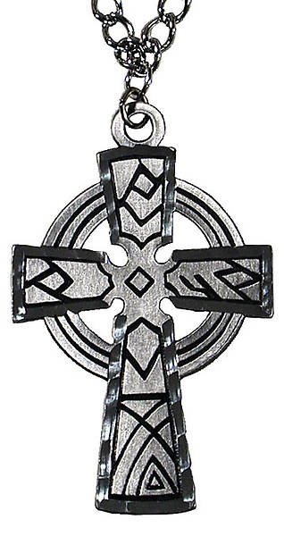 "Clergy Engraved Pewter 3"" Celtic Cross with 36"" Chain, Boxed"
