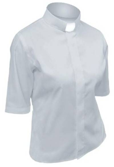 Picture of Lydia Short Sleeve Clergy Blouse with Tab Collar SILVER GREY - 14
