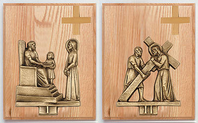 Picture of Stations of the Cross Oak Plaque Bronze Set 14