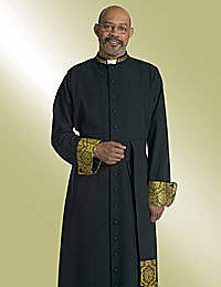 Band Cincture for Mens Black Clergy Cassock with Black-Gold Brocade