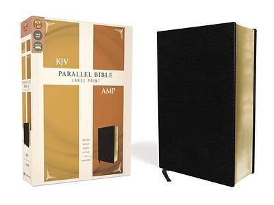 Picture of KJV, Amplified, Parallel Bible, Large Print, Bonded Leather, Black, Red Letter Edition