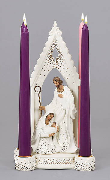 Picture of Holy Family with Gold Trim Candle Holder