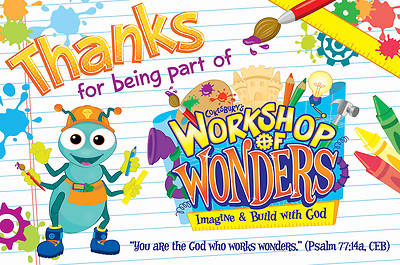 Vacation Bible School (VBS) 2014 Workshop of Wonders Thank You Postcards (Pkg of 25)