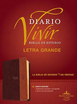 Picture of Biblia de Estudio del Diario Vivir Rvr60, Letra Grande (Letra Roja, Sentipiel, Café/Café Claro)