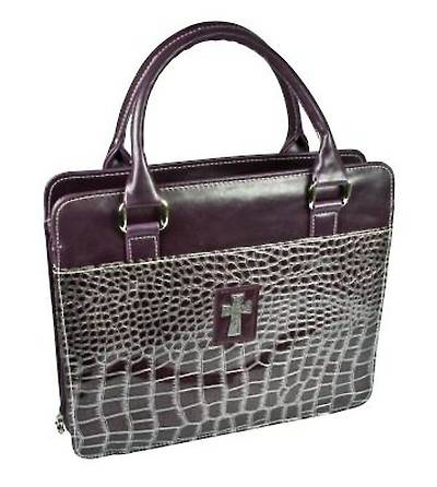 Picture of Purple Croc-Embossed, Purse Style Bible Cover