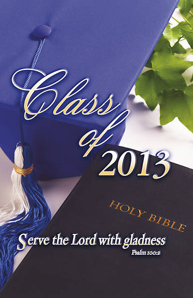 Graduation Bulletin Bible and Cap Psalm 100:2 Regular (Package of 100)