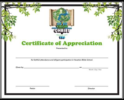 Picture of Vacation Bible School (VBS) 2020 20/20 Vision: Certificate of Appreciation