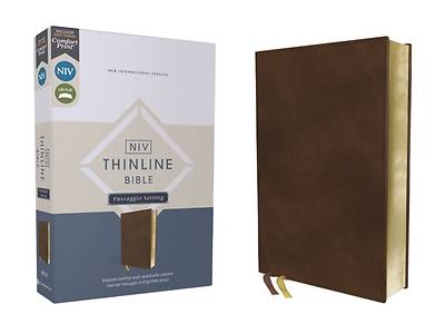 Picture of Niv, Thinline Bible, Passaggio Setting, Leathersoft, Brown, Red Letter, Comfort Print