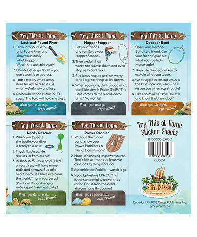 Vacation Bible School (VBS) 2018 Shipwrecked Try This at Home Sticker Sheets - Pkg of 10