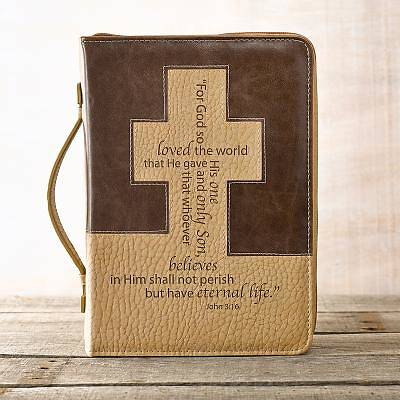 Picture of BIBLE COVER  BROWN CREAM CROSS LUXLEATHER LARGE