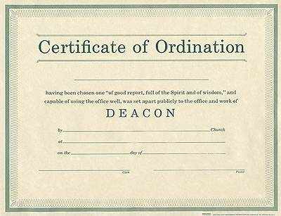 Certificate of Ordination Deacon Package of 6