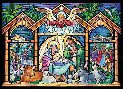 Stained Glass Nativity Chistmas Boxed Cards