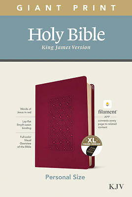 Picture of KJV Personal Size Giant Print Bible, Filament Enabled Edition (Leatherlike, Diamond Frame Cranberry, Indexed)