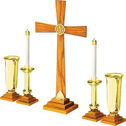 "Picture of 24"" SOLID OAK & BRASS ALTAR SET"