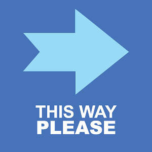 "Picture of This Way Please (Right Arrow) 9""x9"" Floor Decal Sign - 2 Pack"