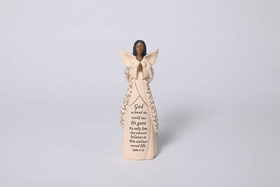 Picture of Angel Figurine With Verse - God So Loved the World John 3:16