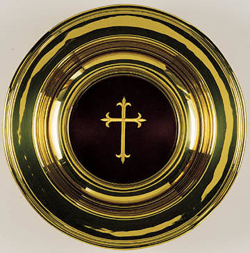 Offering Plate, solid brass, maroon mat, embroidered cross