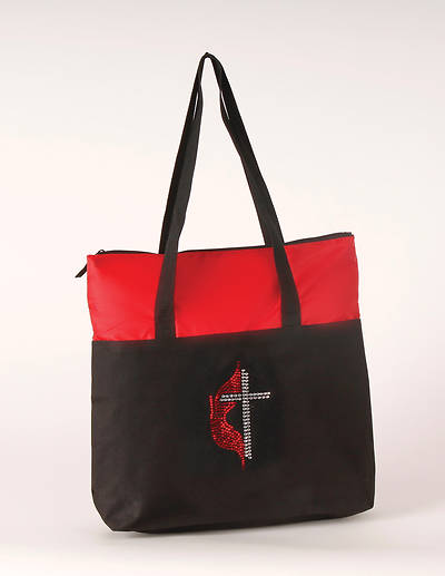 Zippered Tote Bag - Black and Red