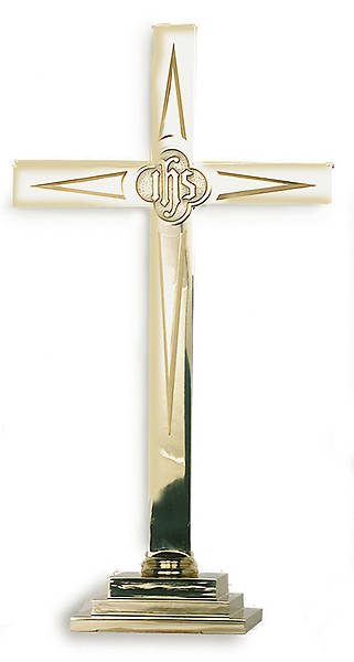 Brass Cross 36 Overlay Star w/IHS Medallion