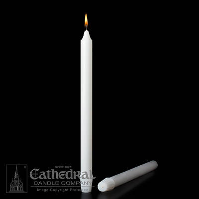 Stearic Altar Candles Cathedral 26 x 1 3/16 Pack of 6 Self-fitting