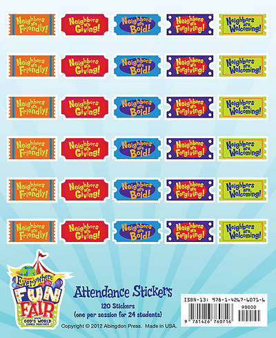 Vacation Bible School 2013 Everywhere Fun Fair Pkg of 24 Attendance Sticker VBS