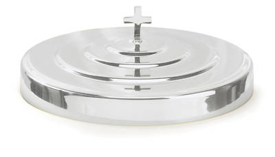 CHROME COMMUNION TRAY COVER WITH KNOB