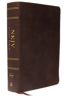 Picture of NKJV Study Bible, Premium Calfskin Leather, Brown, Full-Color, Thumb Indexed, Comfort Print