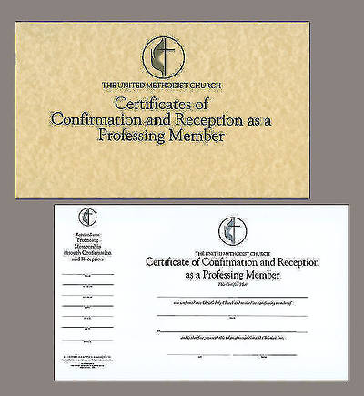 The United Methodist Church Certificates of Confirmation and Reception as a Professing Member (Pad of 26)