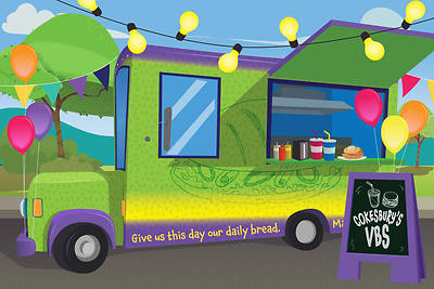 Picture of Vacation Bible School (VBS) Food Truck Party 3-panel Decorating Mural