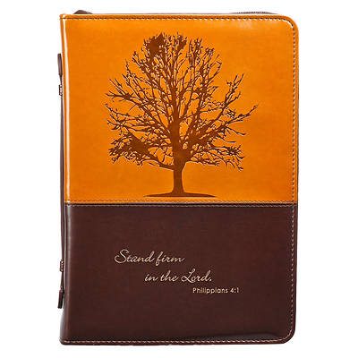 Picture of Bible Cover Luxleather Tree Dark Brown Brown Large