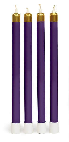 COMPLETE ADVENT TUBE CANDLE & SLEEVES - 4 PURPLE
