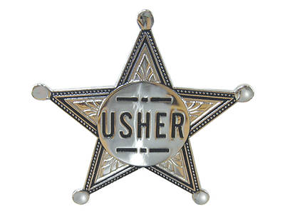 Pointed Silver Star Usher Pin-On Badge