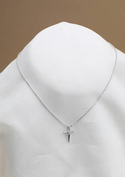 Silver Pointed Cross w/CZ Childrens Necklace
