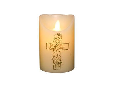 Marvelous Lights Ivory Flameless Candle  W/Cross 3.25