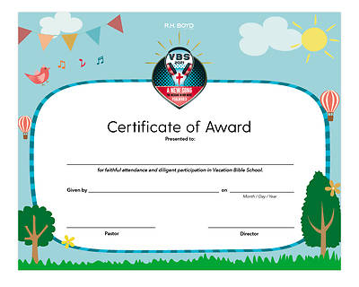 Picture of Vacation Bible School VBS 2021 A New Song The Message in Our Music Certificate of Award PK6