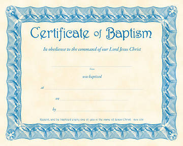 Certificate of Baptism Parchment Package of 6