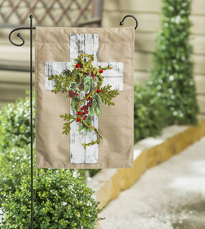Picture of Woodgrain Cross Garden Linen Flag