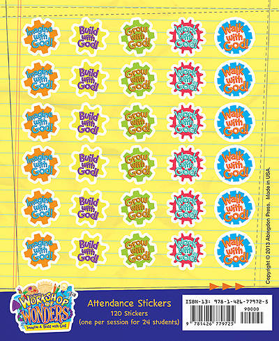 Vacation Bible School (VBS) 2014 Workshop of Wonders Attendance Stickers (Pkg of 24)