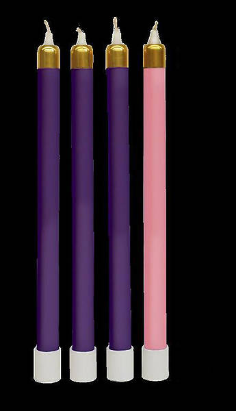 "Advent Tube Candles Set of 3 Purple & 1 Rose 13 3/8"" x 1 1/2"""