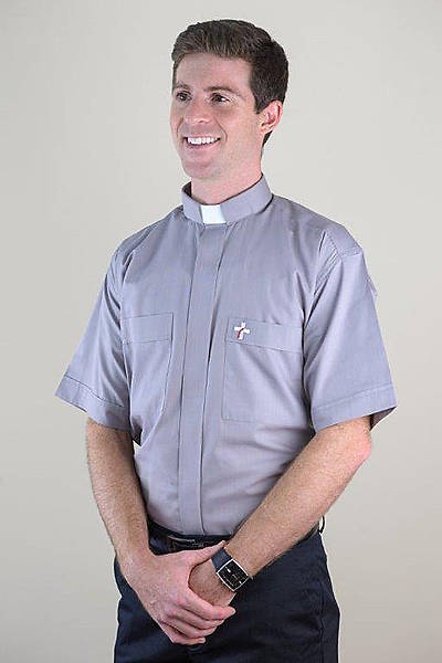 Picture of MDS Short Sleeve Clergy Shirt with Deacon Cross