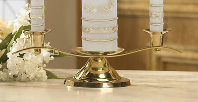 Picture of Brass Curved Silhouette Unity Candle Holder