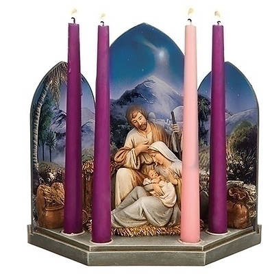 Holy Family With Scene Advent Candle Holder 10""