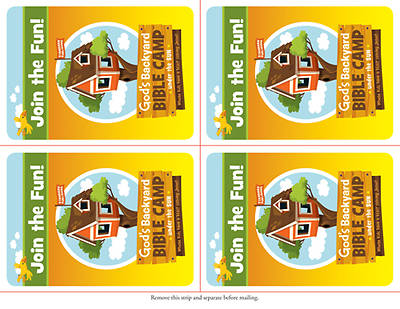 Standard Vacation Bible School 2013 Gods Backyard Bible Camp Under the Sun Invitation Postcards