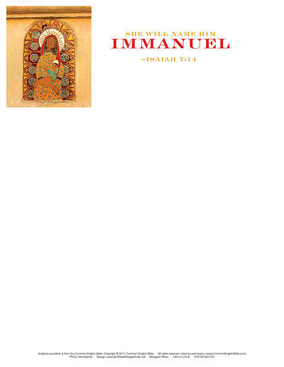 Immanuel Nativity Christmas Letterhead (Pkg of 50)